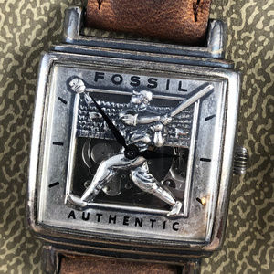 Limited Edition Baseball Fossil Quartz Wrist Watch